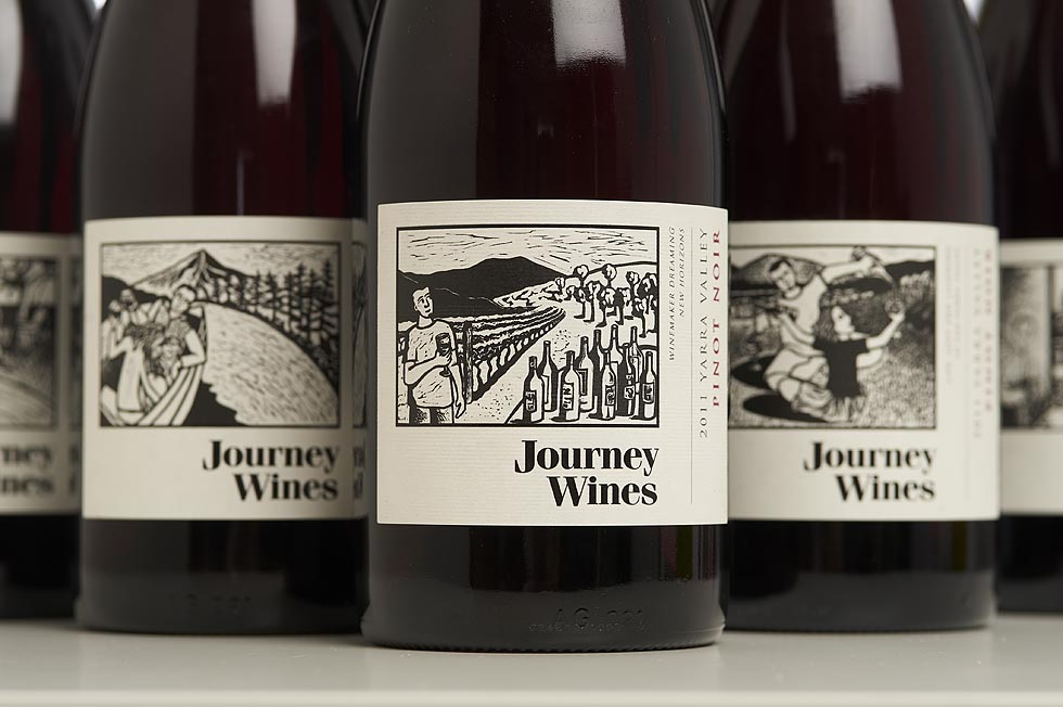 Wine Labels with linocut images by Shana James