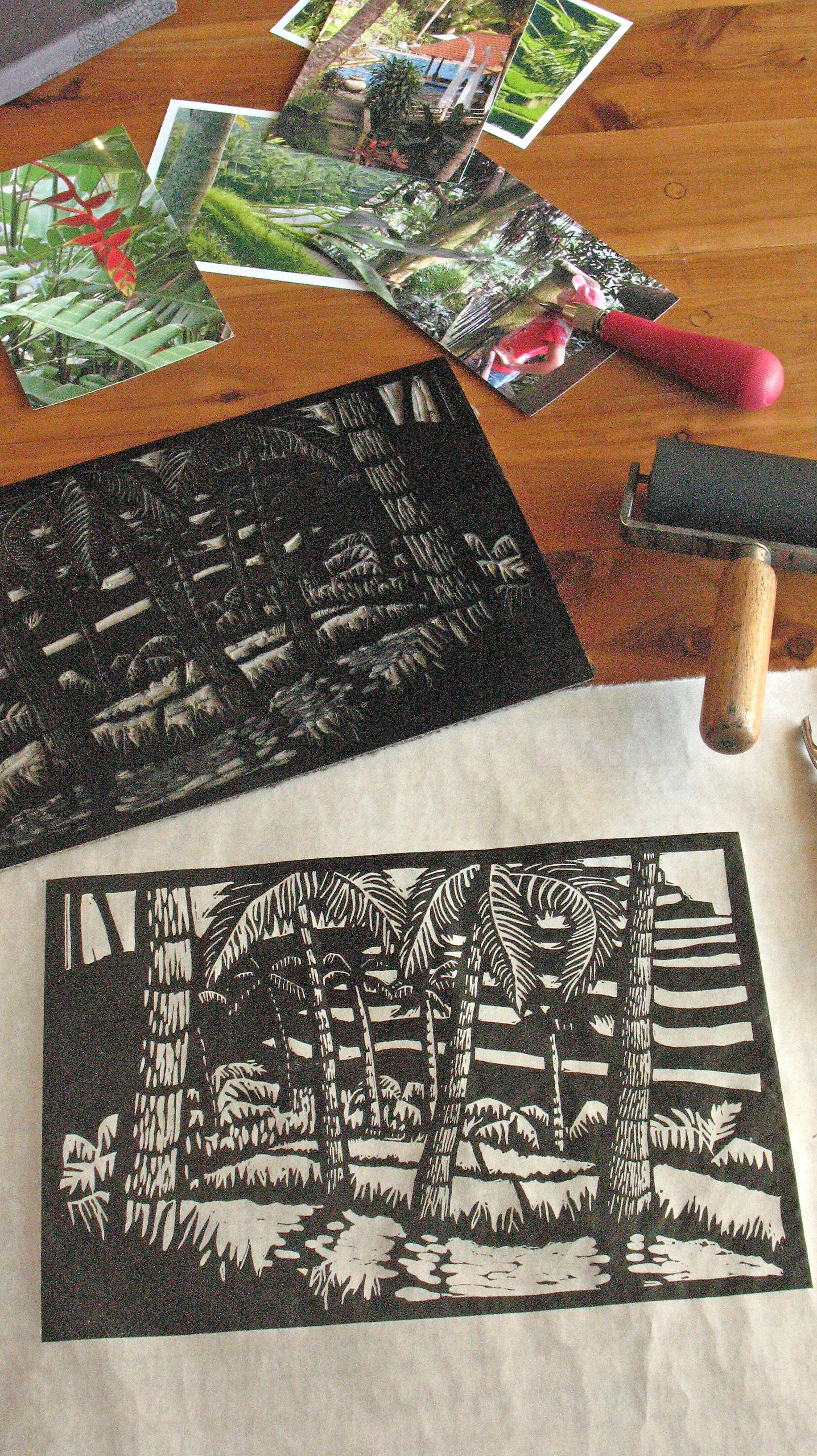 Linocut of Ubud Landscape with Lino block