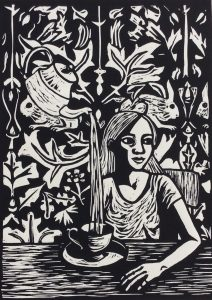 """Allow"" Linocut by Artist and Tutor Shana James"