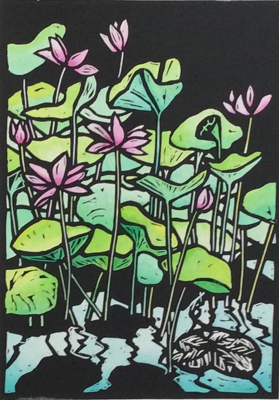Waterlilies Ubus Linocut by Shana James $220 unframed